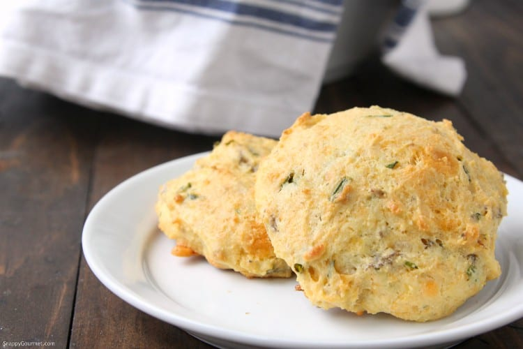 Homemade Cheddar, Chive, and Sausage Biscuits - easy homemade biscuits from scratch