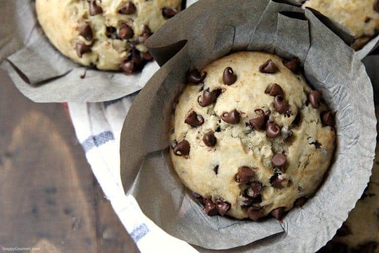 Chocolate Chip Banana Bread Muffins recipe - homemade banana muffins