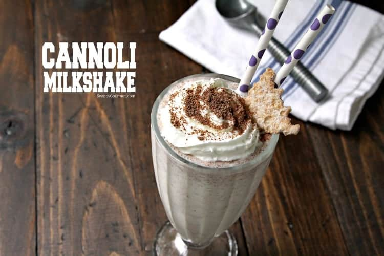 Homemade Cannoli Milkshake - an easy milkshake recipe with vanilla ice cream, ricotta cheese, and a few other ingredients.
