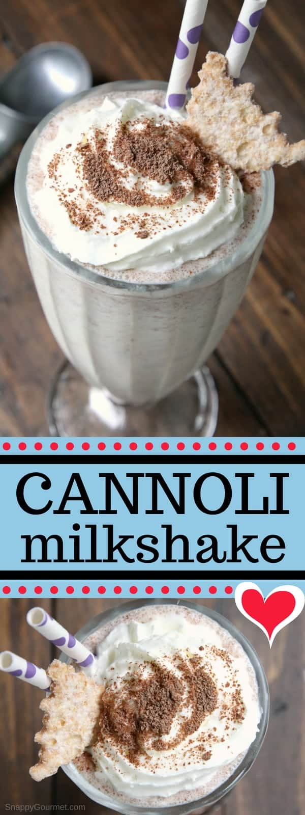 Homemade Cannoli Milkshake - fun milkshake recipe with vanilla, ricotta, orange, and chocolate!