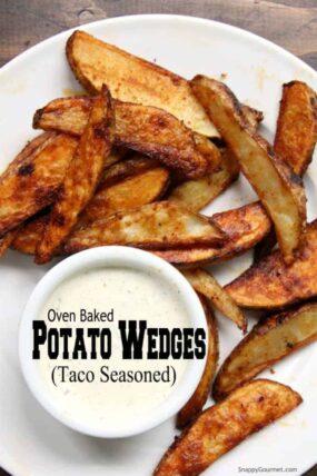 Oven Baked Potato Wedges - easy potato wedges recipe seasoned with taco seasoning