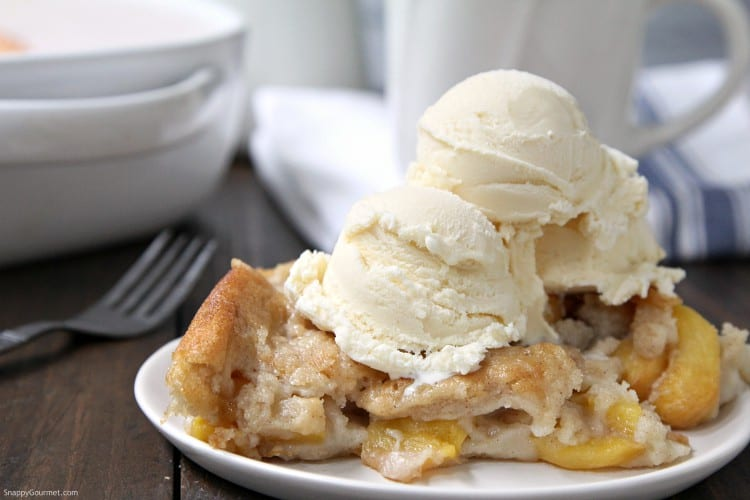 Simple Peach Cobbler - homemade quick peach cobbler recipe