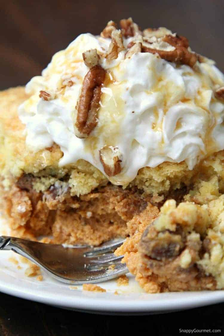 Pumpkin Dump Cake - easy fall dessert recipe perfect for potlucks, holidays, and parties