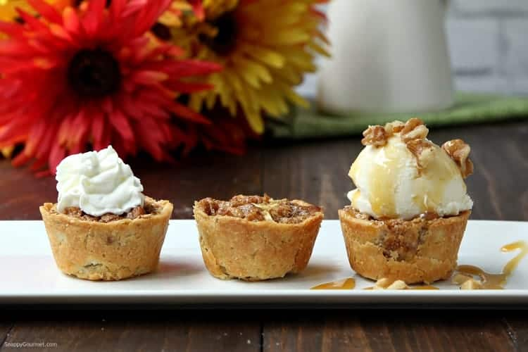 Mini Walnut Apple Pies - three ways (plain, with whipped cream, and with ice cream)