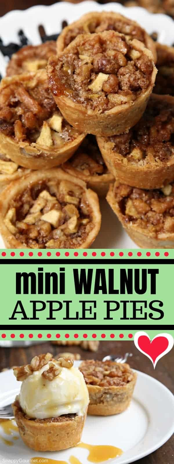Mini Walnut Apple Pies - easy muffin tin apple pie recipes