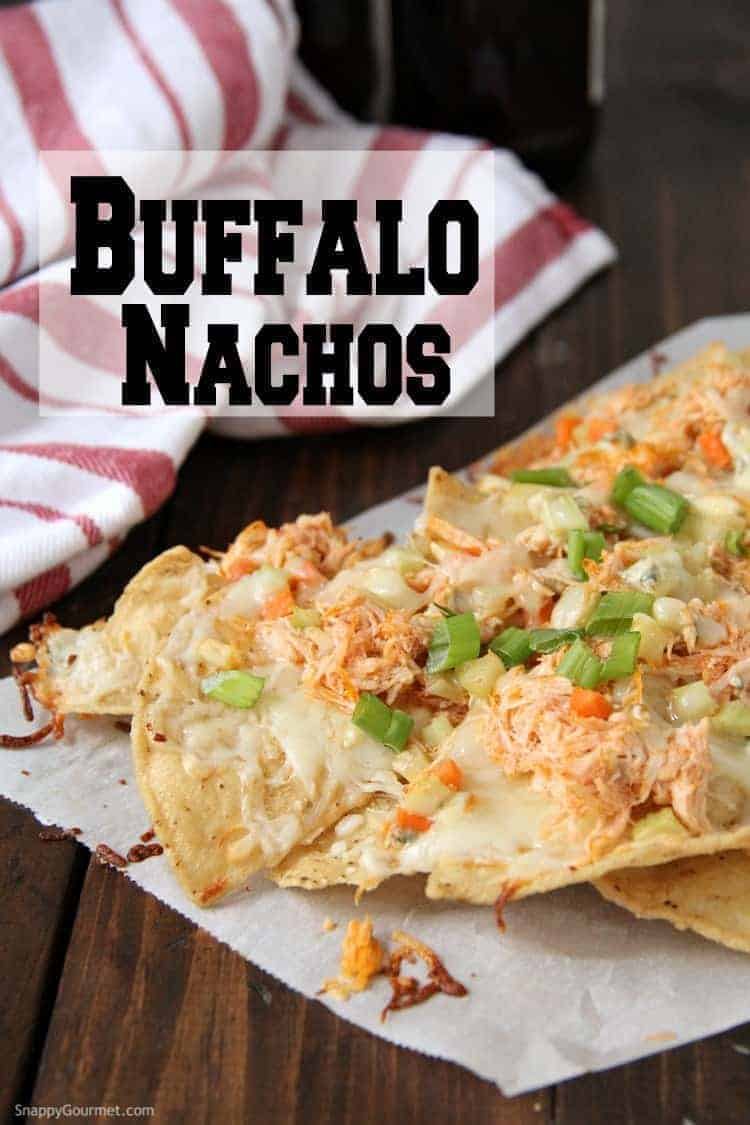 Buffalo Chicken Nachos loaded with toppings