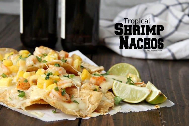 Shrimp Nachos on table with lime