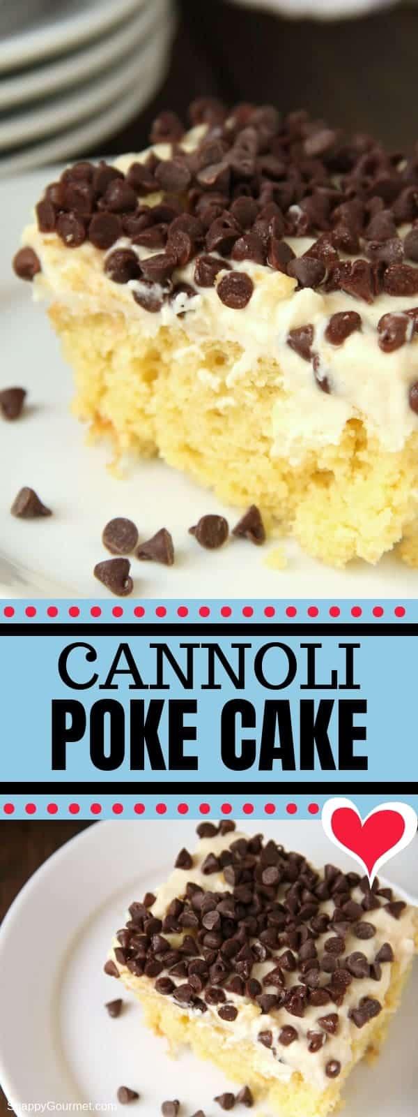 Cannoli Poke Cake photo collage