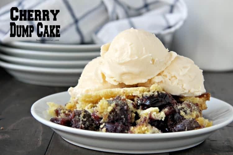 Cherry Dump Cake on plate with vanilla ice cream