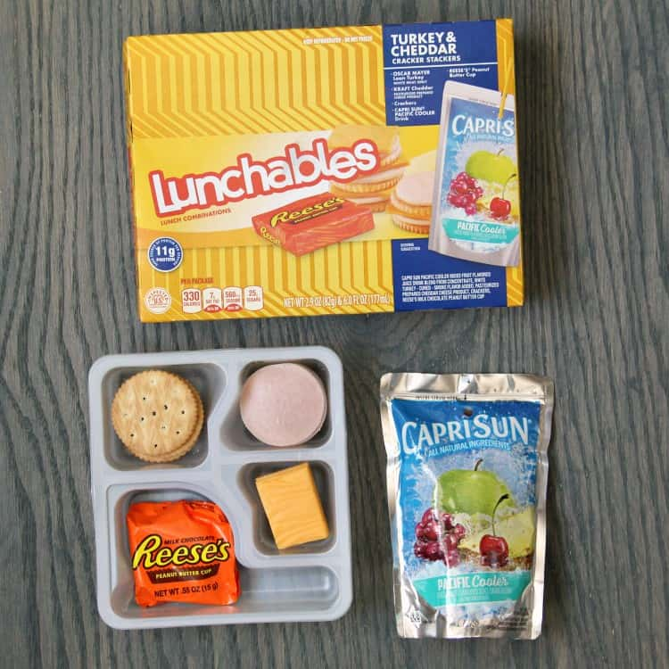 Box of Turkey & Cheddar Lunchables with candy and drink