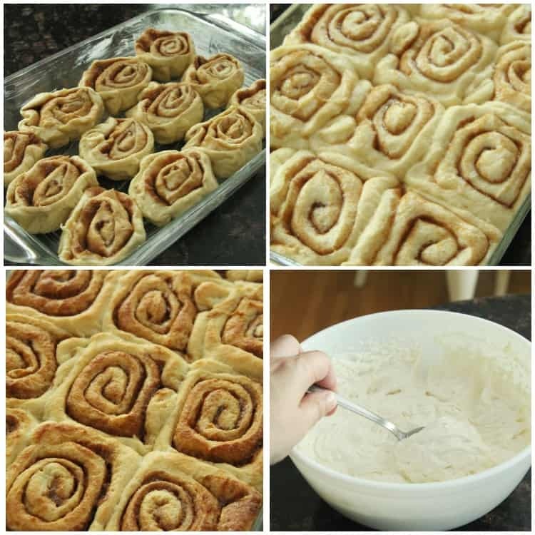 Cannoli Cinnamon Rolls in pan