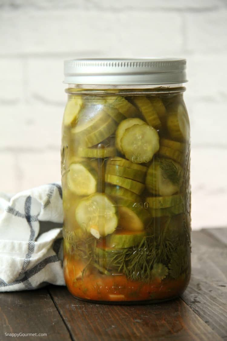 Mexican Refrigerator Pickles in jar before refrigerating