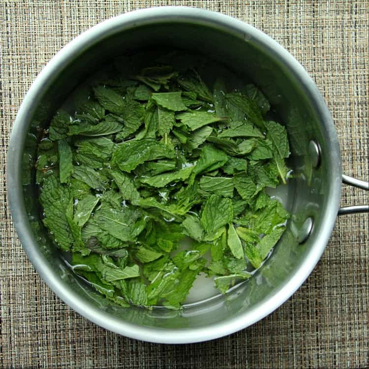 Mint Simple Syrup ingredients in pan