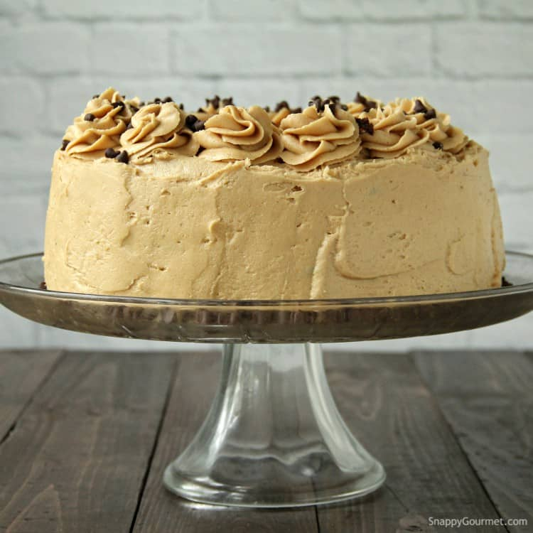 Chocolate Peanut Butter Cake on stand