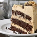 slice of Peanut Butter Chocolate Cake on white plate