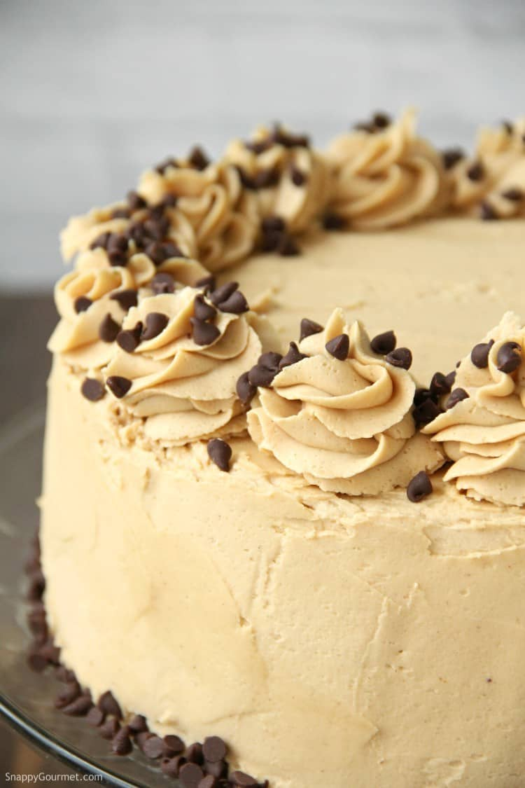 Cake decorated with peanut butter frosting