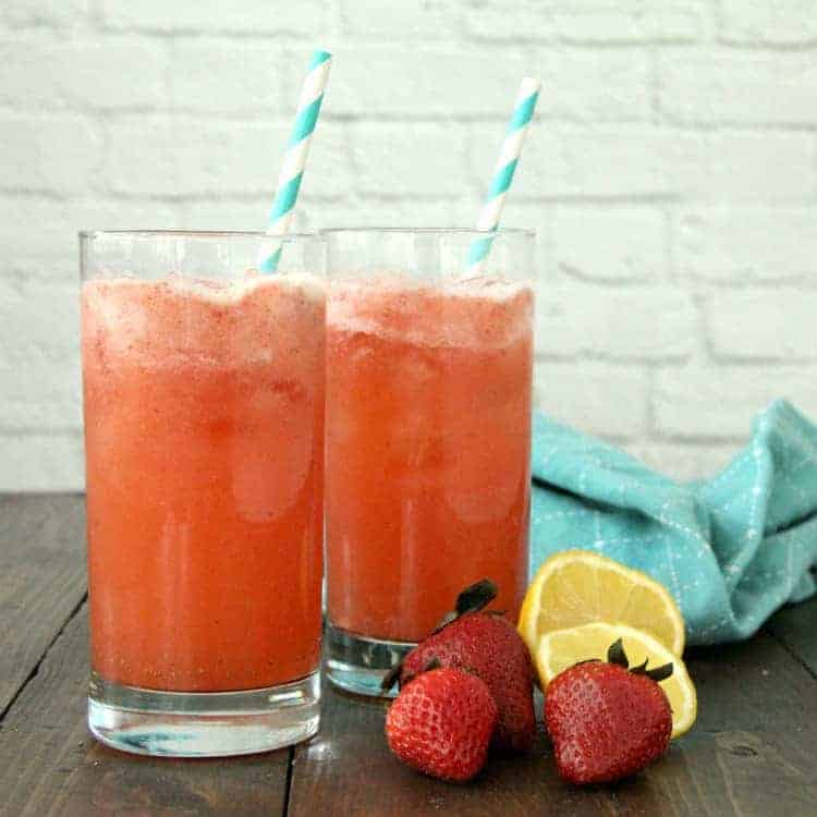 Strawberry Mint Lemonade with strawberries and lemons