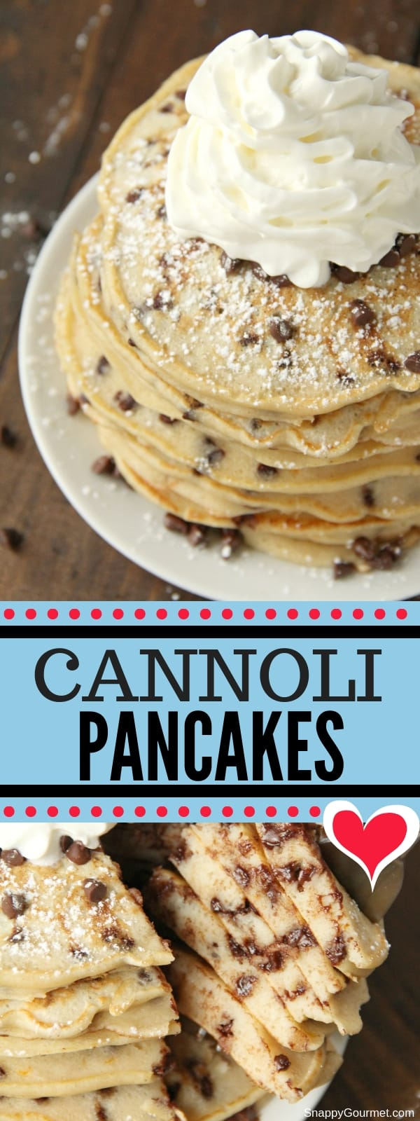 Cannoli pancake collage