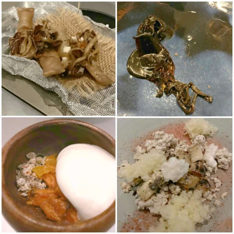 four photos of food served