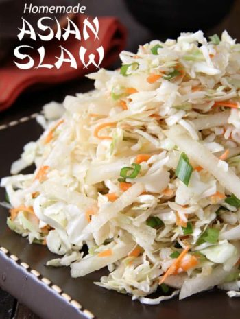 Asian Slaw closeup on plate