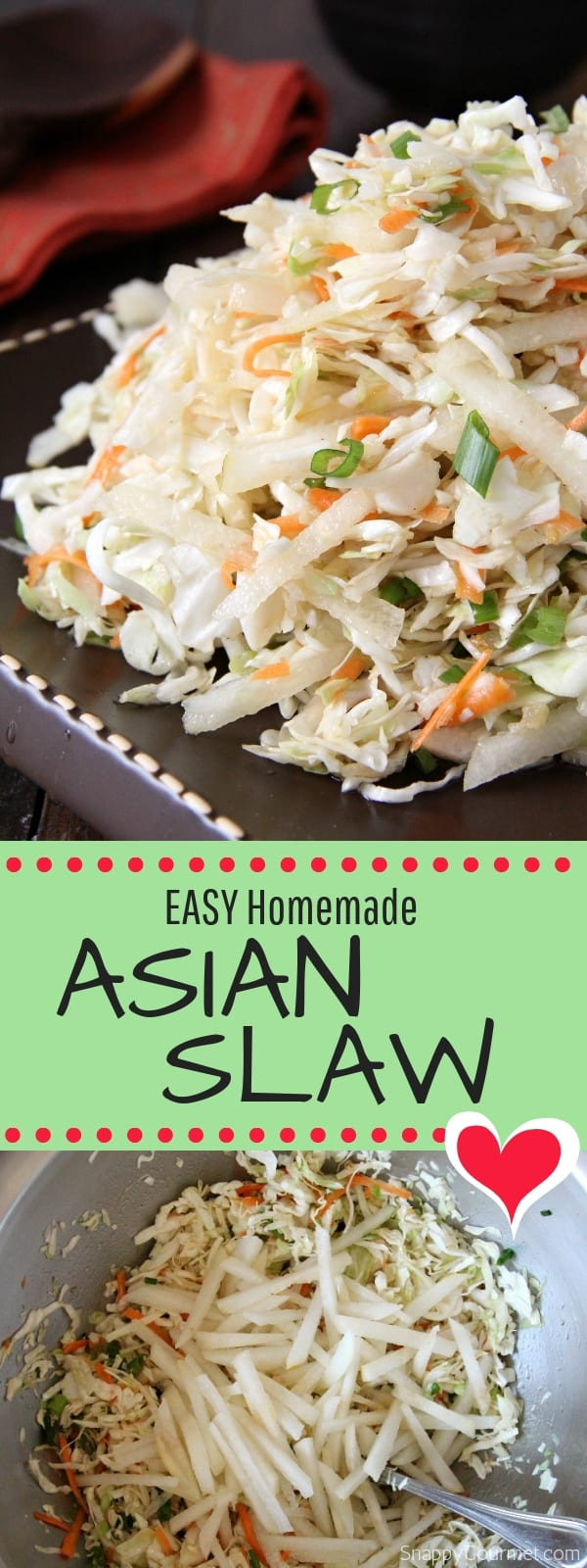 Asian slaw collage