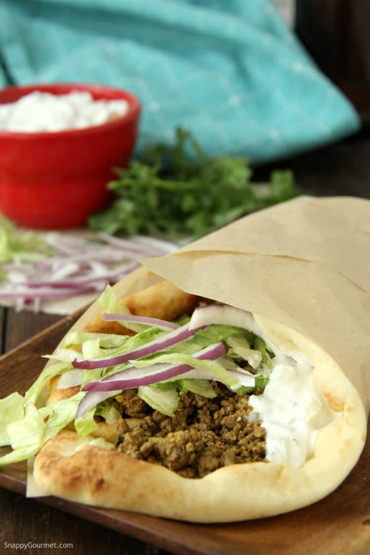 Curry Lamb Naan Sandwich folded and wrapped