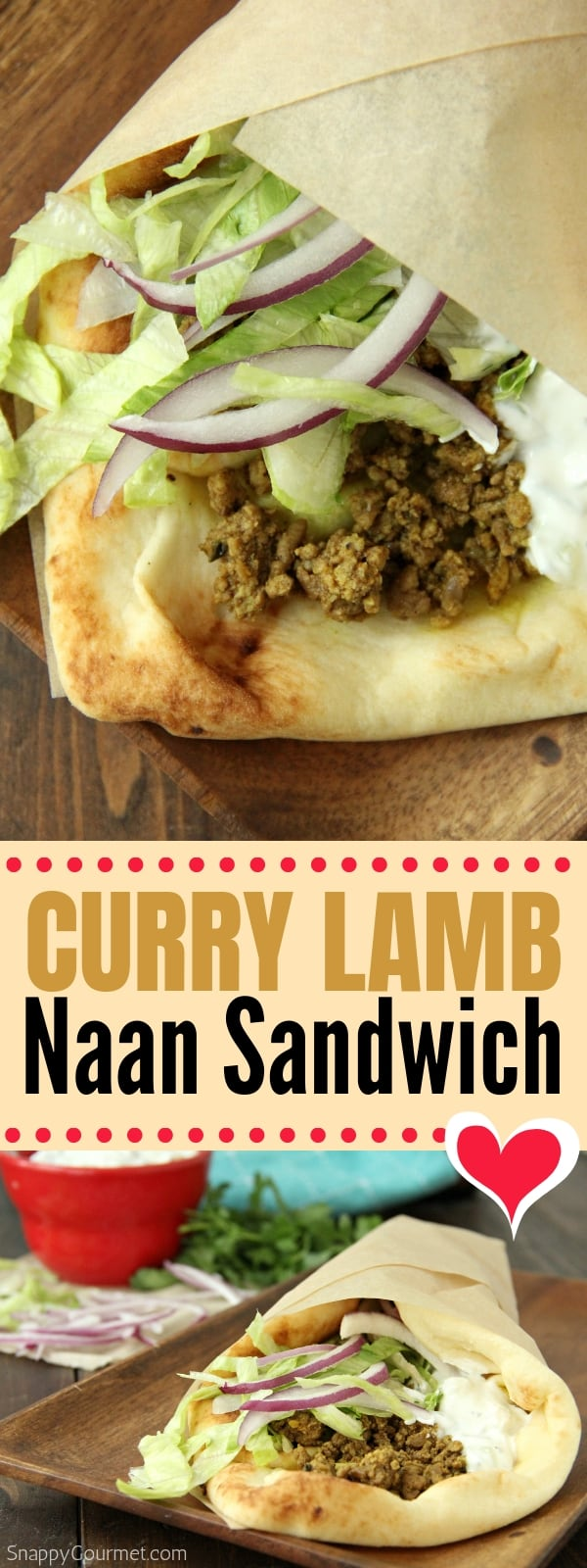 Curry Lamb Naan Sandwich collage