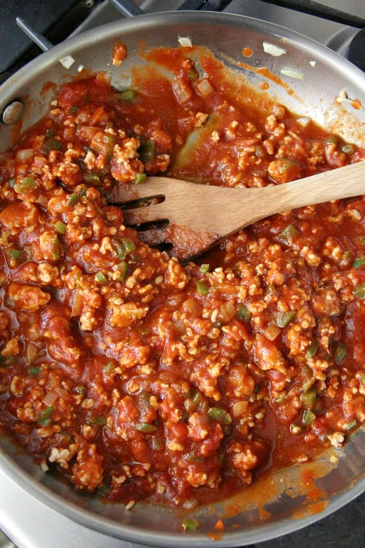 chicken sloppy joe mixture in pan