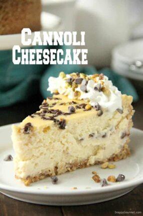 slice of cannoli cheesecake
