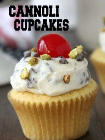 cannoli cupcake with cannoli frosting, pistachios, and maraschino cherry