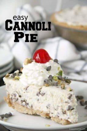 slice of cannoli pie on plate