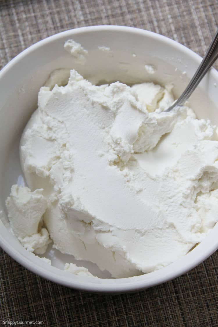finished ricotta cheese after straining