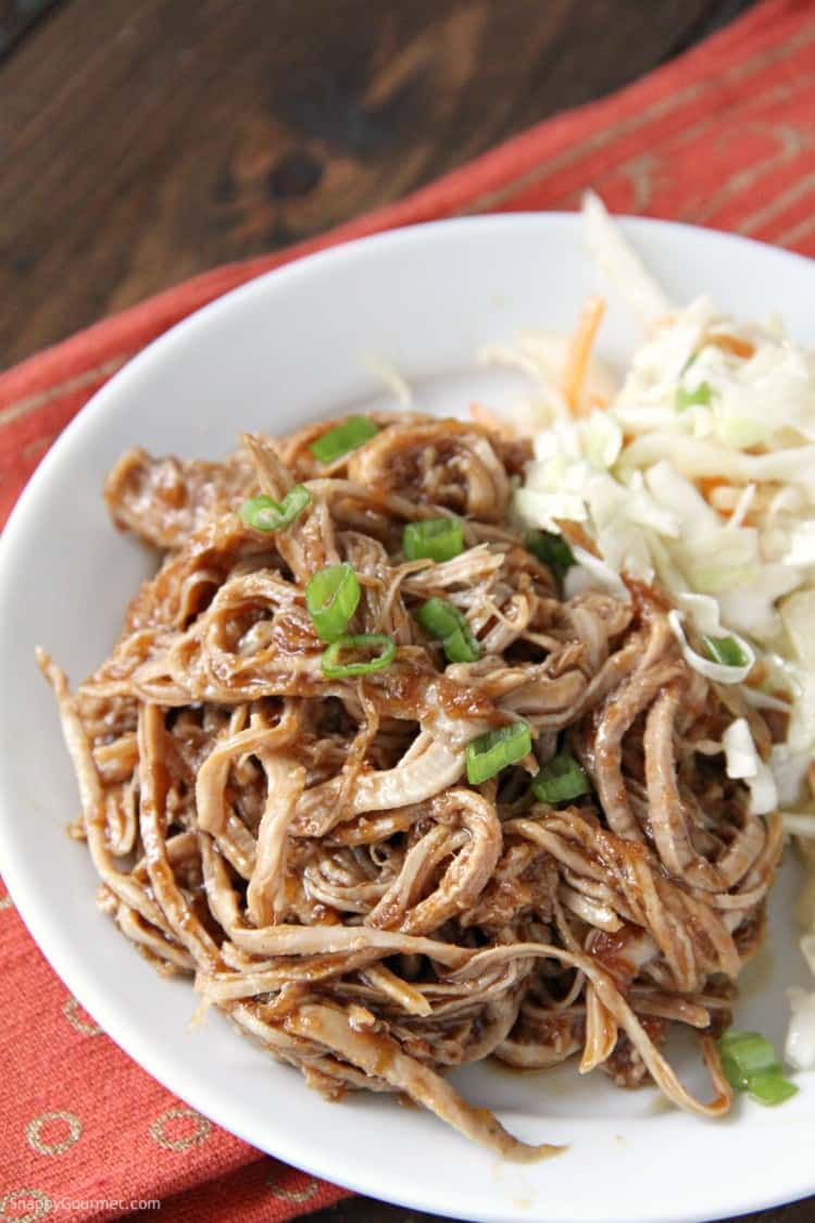 Pulled pork with Korean BBQ sauce and Asian slaw
