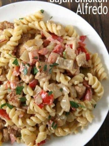 Cajun Chicken Alfredo Pasta on white plate