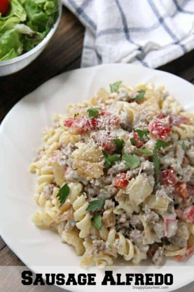 Sausage Alfredo Pasta with homemade alfredo sauceon plate