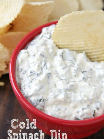 cold spinach dip in red bowl