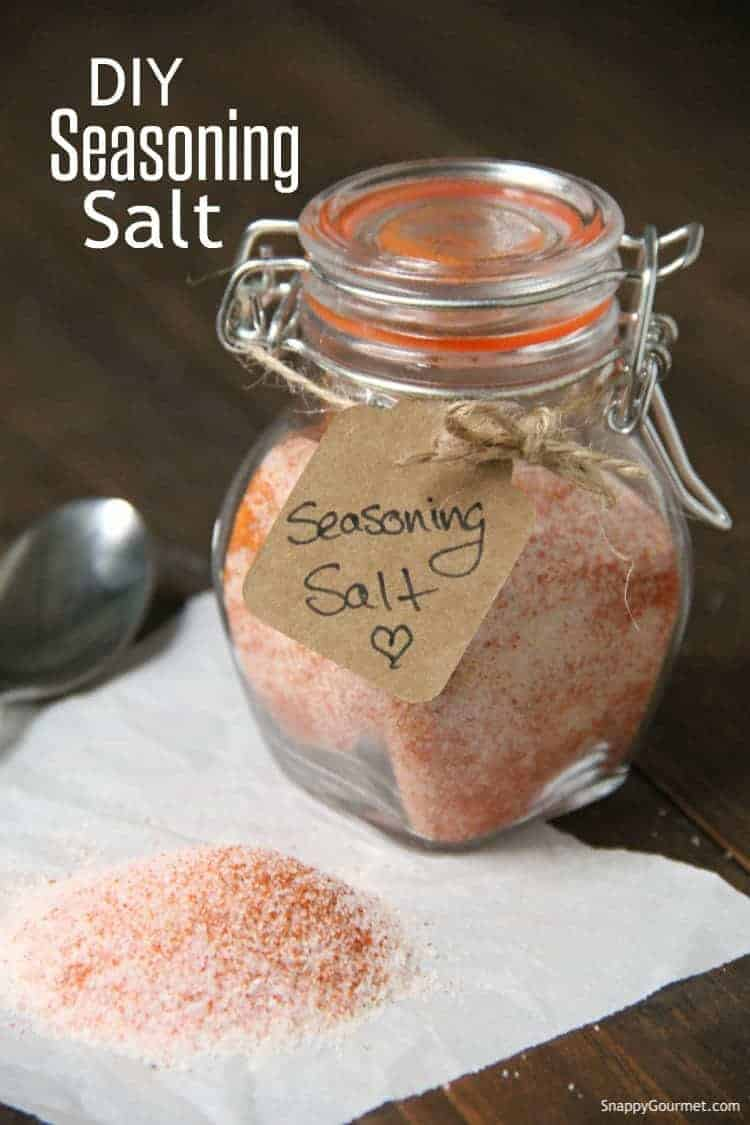 seasoning salt in glass jar with gift tag