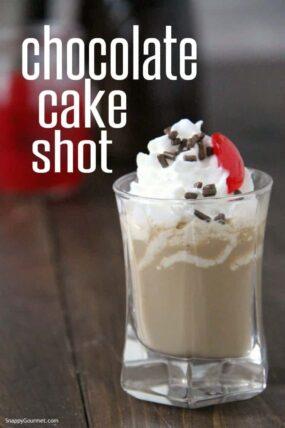 Chocolate Cake Shot in shot glass
