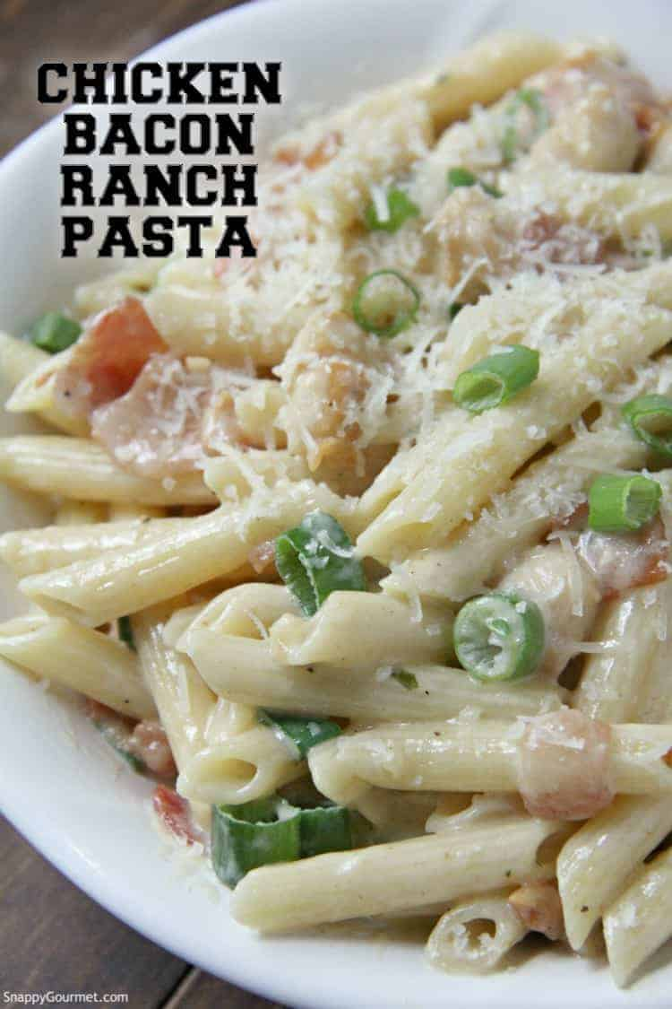 Chicken Bacon Ranch Pasta in bowl topped with green onion
