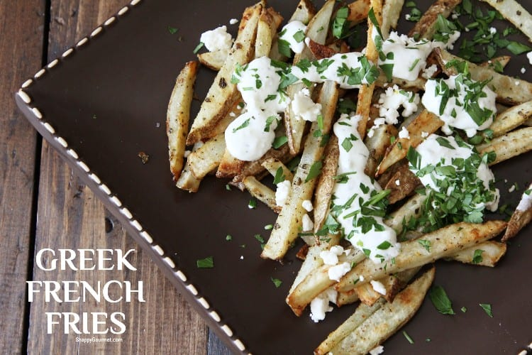 Baked Greek french fries on plate